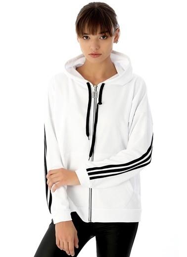 Emjey Üç Şeritli Ceket Beyaz
